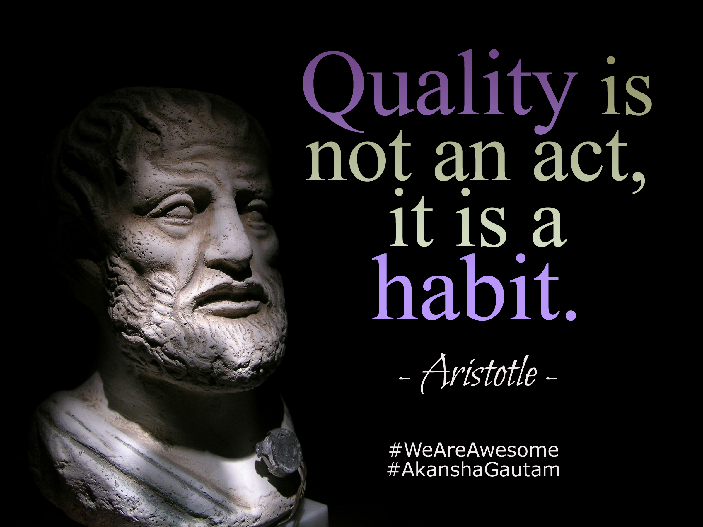 "Aristotle Quotes: ""Quality Is Not An Act, It Is A Habit."" ~Aristotle"